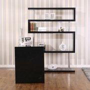 homcom rotating home office corner desk and shelf combo black image 4 of 9