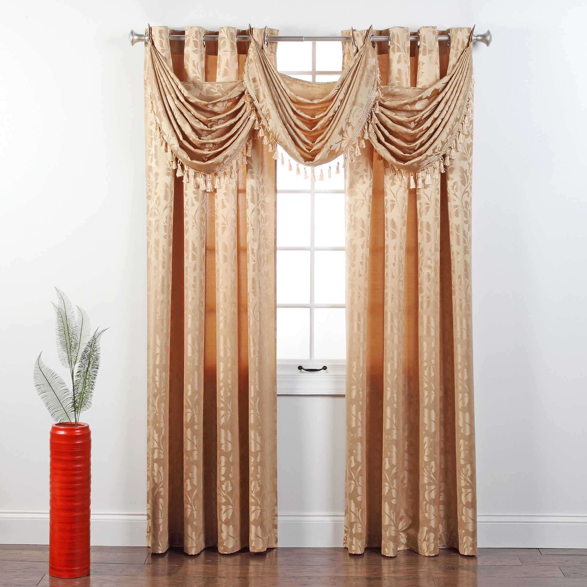 Leah Jacquard Grommet Waterfall Valance with Tassel