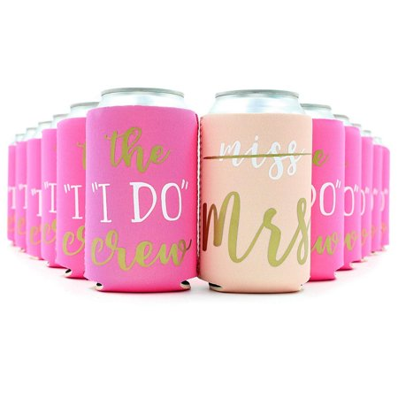 Juvale 12-Pack Pink Bachelorette Party Insulated Neoprene Beer & Soda Sleeve Covers for Favors & Gifts, Fits 12 Ounce