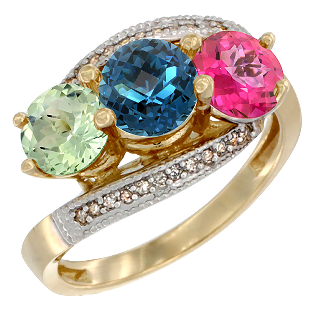 14K Yellow Gold Natural Green Amethyst, London Blue & Pink Topaz 3 stone Ring Round 6mm Diamond Accent, sizes 5 - 10