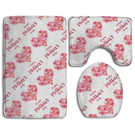 EREHome Happy Mother Day 3 Piece Bathroom Rugs Set Bath Rug Contour Mat and Toilet Lid Cover - image 1 of 2