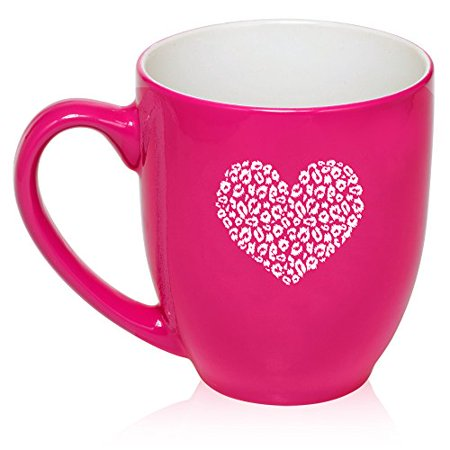 16 oz Large Bistro Mug Ceramic Coffee Tea Glass Cup Leopard Print Love Heart (Hot Pink)