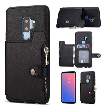 huge selection of c32b6 e15be Galaxy S9 Plus Case, S9+ Case, Allytech PU Leather Slim Fit Heavy Duty  Defender Shock-Absorbing Cards & Cash Holder Cover w/ Zipper Stand Wallet  Cover ...