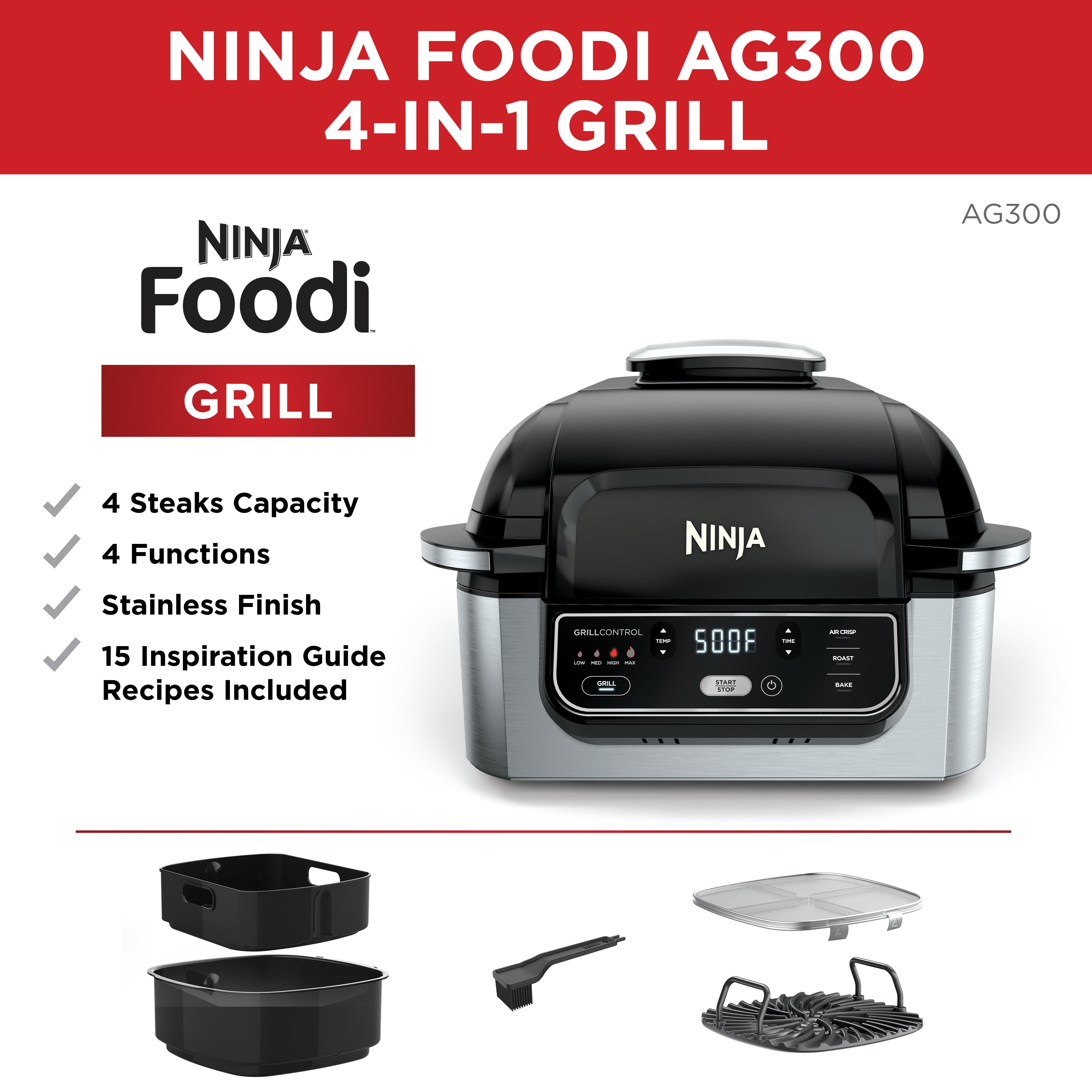Bake Ninja Foodi 4-in-1 Indoor Grill 4-Quart Air Fryer Roast AG300 Grill