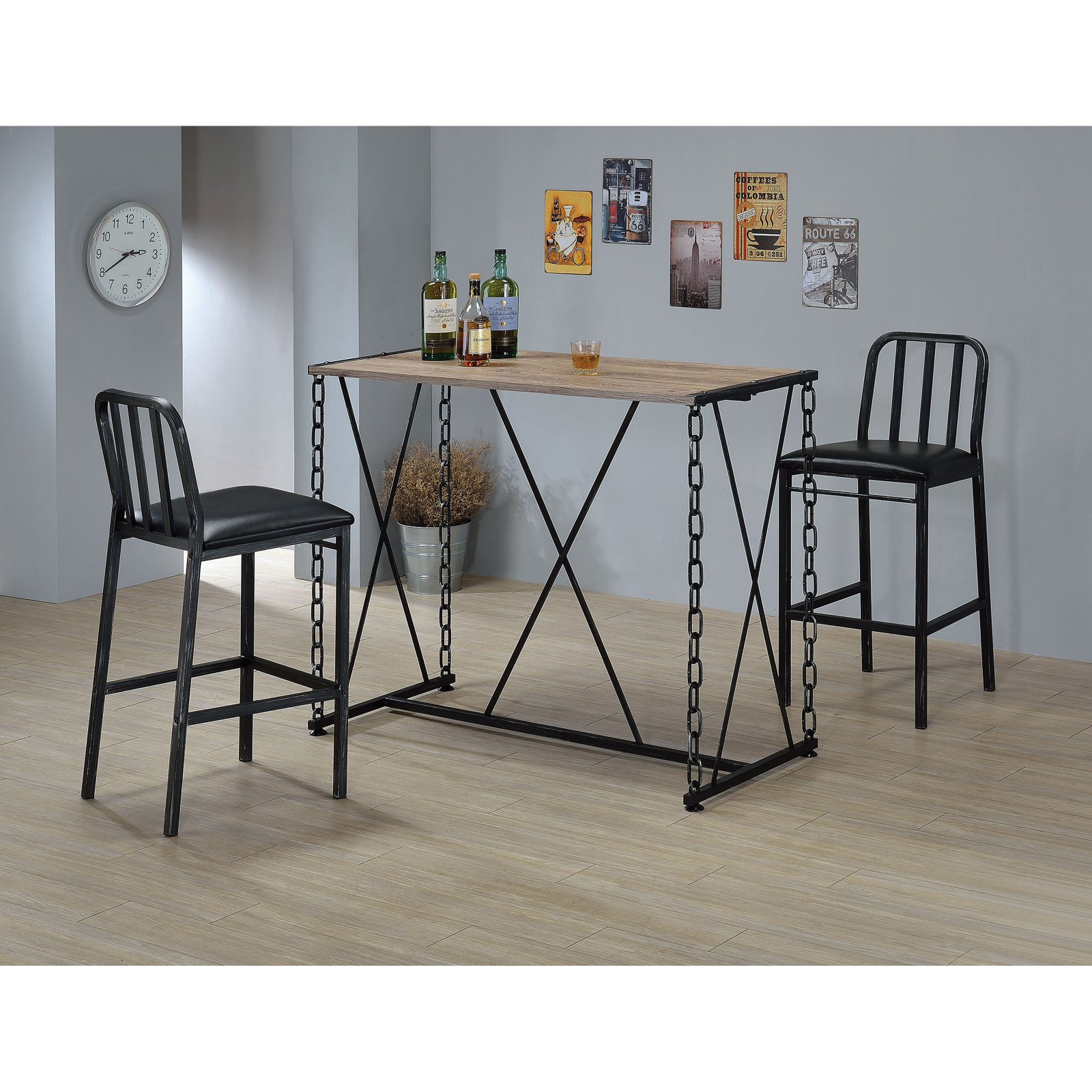 ACME Jodie Bar Table, Rustic Oak and Antique Black
