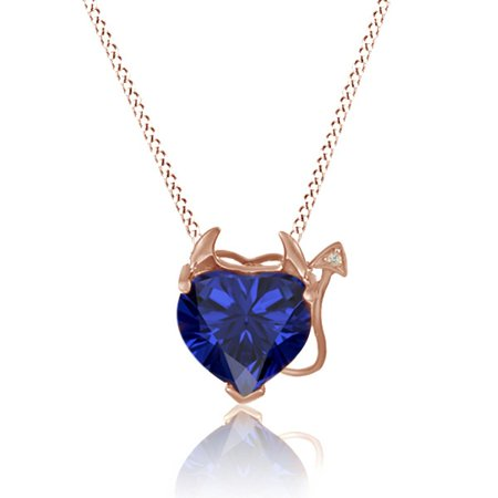 14k Yellow Gold Simulated Blue Sapphire Heart Shape Devil Pendant Necklace with Diamond Accent, 18