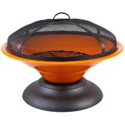 La Hacienda Moda Enameled Firepit, Orange/Black
