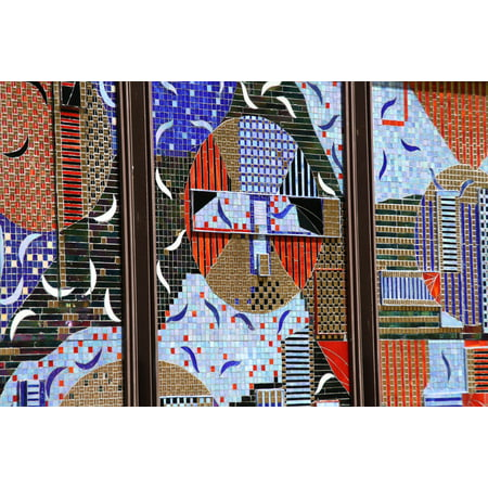 Peel-n-Stick Poster of Texture Mosaic Wall Colorful Design Pattern Poster 24x16 Adhesive Sticker Poster Print