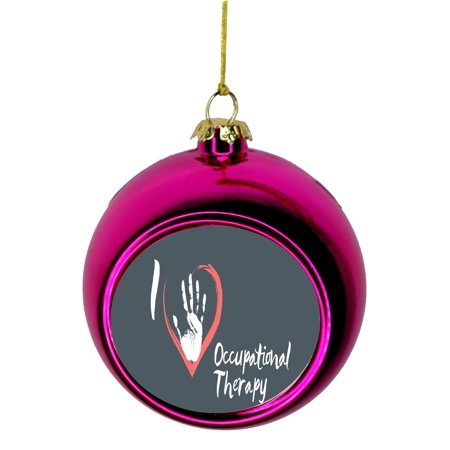 I Love Occupational Therapy Handprint Heart - Gift Appreciation Bauble Christmas Ornaments Pink Bauble Tree Xmas - Heart Handprint