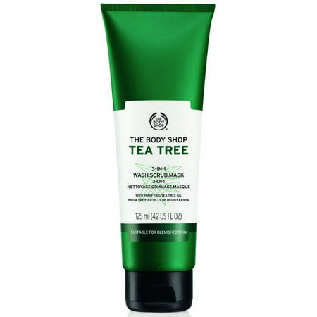 The Body Shop Tea Tree 3-in-1 Wash.Scrub.Mask, Made with Tea Tree Oil 4.2 oz