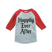 Custom Party Shop Girl's Happily Ever After Wedding Red Raglan Medium