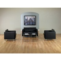 OSP Home Furnishings Pacific Loveseat in Faux Leather, Black