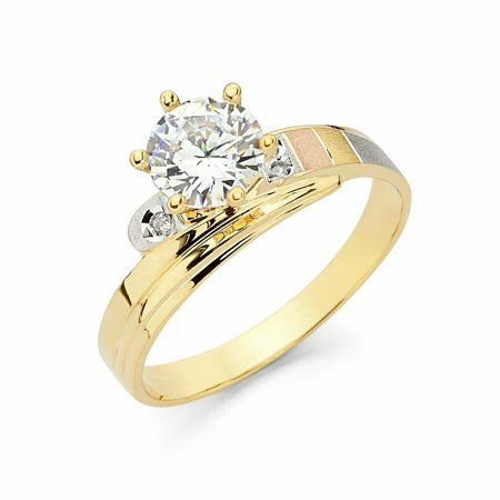 Solid 14k Tri Color Yellow Gold 6 Prong CZ Cubic Zirconia Round Cut Wedding Engagement Ring (1 ct.)