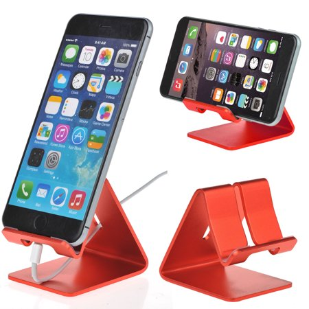 Eeekit Universal Aluminum Cell Phone Desk Stand Holder For Iphone 7 6S 6 Plus  Samsung Galaxy S8 S7 S6 Edge Plus Note 5 4 Google Pixel Xl Red