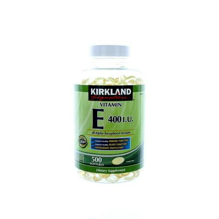 Kirkland Signature Vitamin E 400 I U  500 Softgels  Bottle