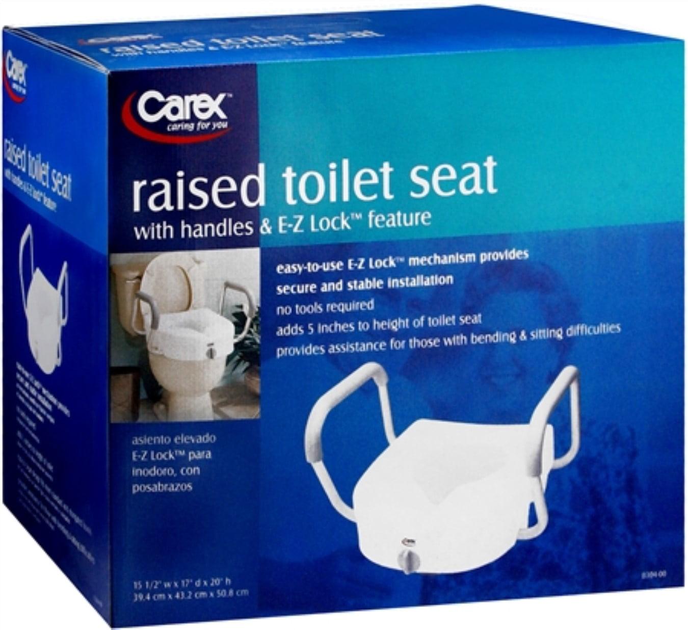 Carex E Z Lock Raised Toilet Seat With Handles Walmart Com