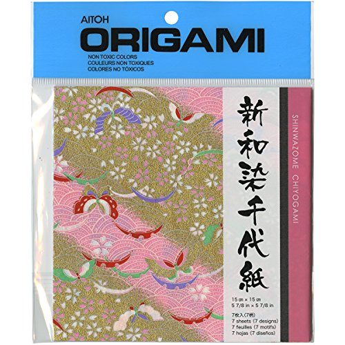 Aitoh NWZ350A Shinwazome Chiyogrami Origami Paper, 5.875-Inch by 5.875-Inch, 7-Pack Multi-Colored