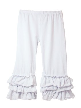 Girls White Triple Tier Ruffle Cuffed Cotton Spandex Pants 12M-7