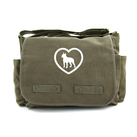 - Boston Terrier Heavyweight Canvas Messenger Shoulder Bag