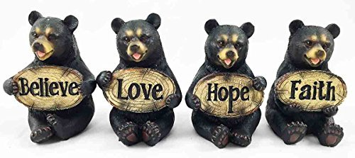 Set of Four Bears Whimsical Cute Black Bear Holding Love Believe Faith and Hope Sign Plaque Small Figurines Western... by Gifts & Decor