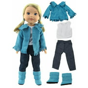 Teal Fringe Western 4 pc Outfit -Fits 14 Inch Wellie Wisher Dolls | 14 Inch Doll Clothing