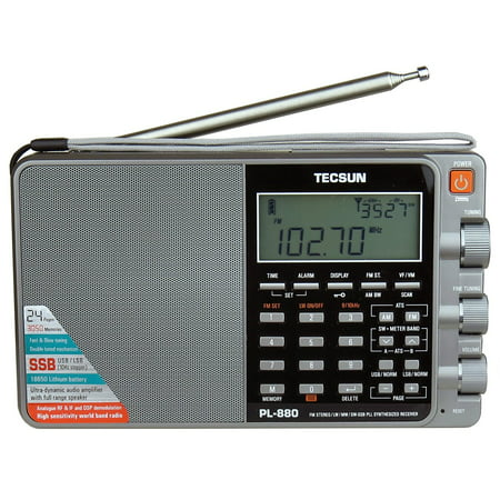 Tecsun PL880 Portable Digital PLL Dual Conversion AM/FM, Longwave & Shortwave Radio with SSB (Single Side Band) Reception - Silver