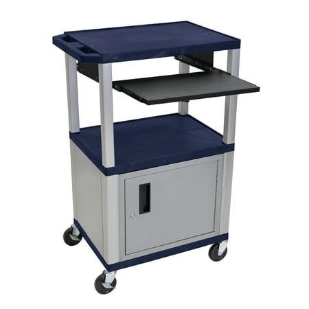 H WILSON WTPS42ZC4E-N 3-Shelf Cart with Black Pullout Shelf, Nickel Cabinet and Legs, Tuffy, 42