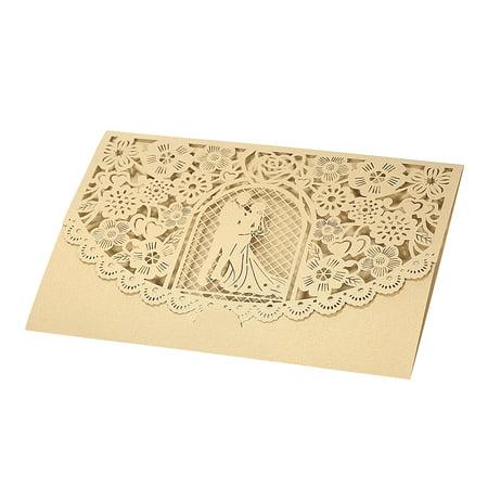 20pcs/set Wedding Invitation Card Cover Pearl Paper Laser Cut Bridal Bridegroom Pattern Invitation Cards Wedding Anniversary Supplies--Gold - image 4 of 7