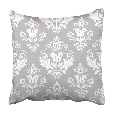 EREHome Gray Abstract Classic White Pattern Traditional Orient Vintage Silver Arabesque Pillowcase 16x16 inch - image 1 de 1
