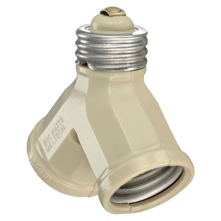 Leviton  006-128-00I Ivory Twin Lamp Socket Light Adapter