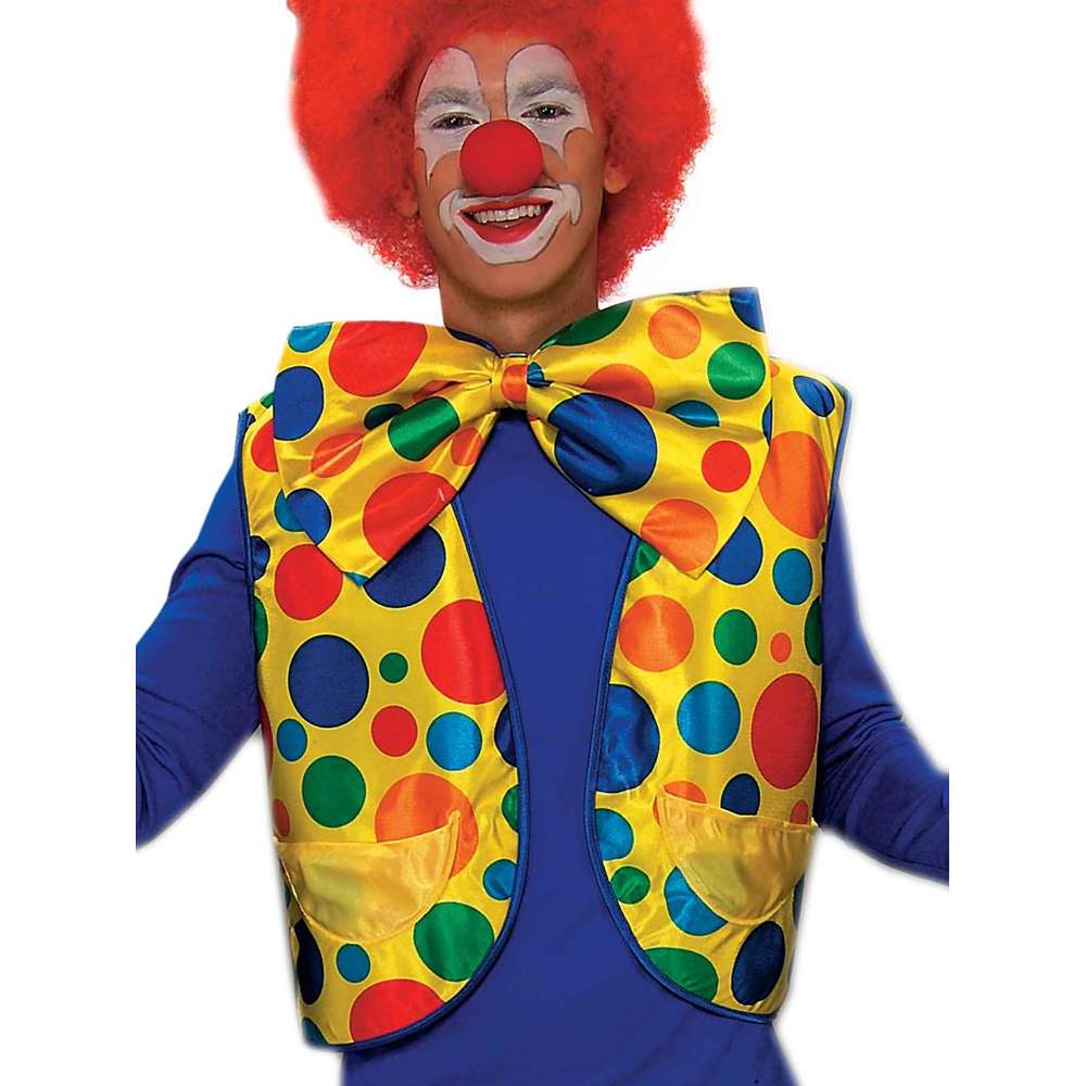 Adult Yellow Polka Dot Funny Clown Costume Vest Shirt