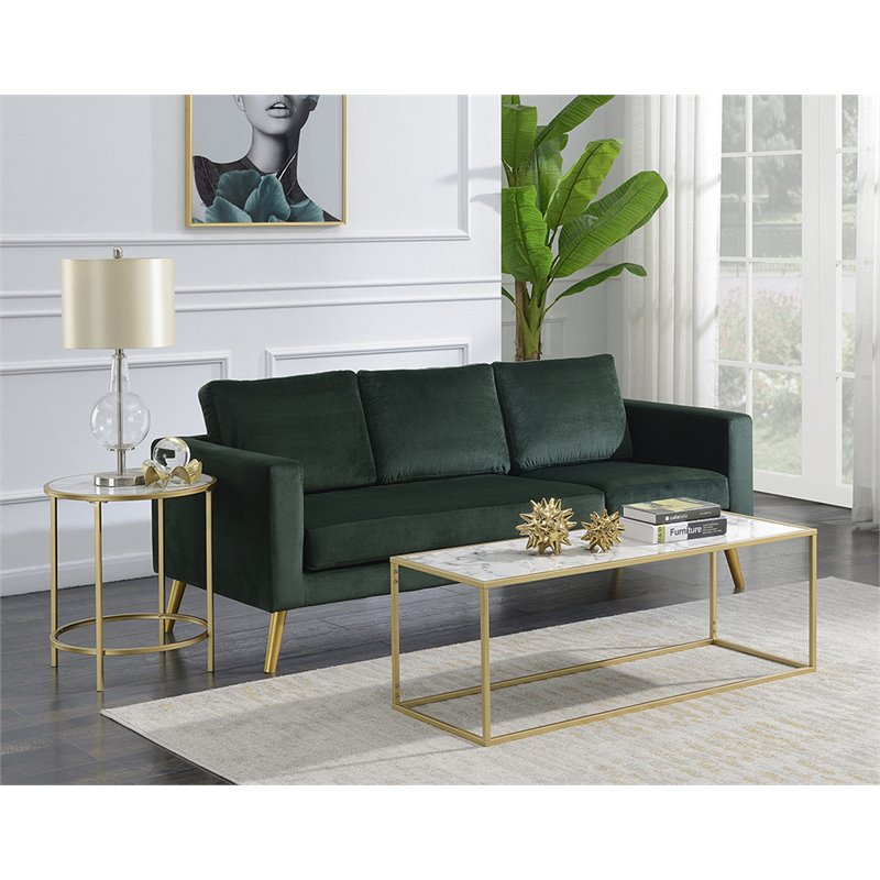 Convenience Concepts Gold Coast Faux Marble Rectangle Coffee Table White Faux Marble//Gold Frame