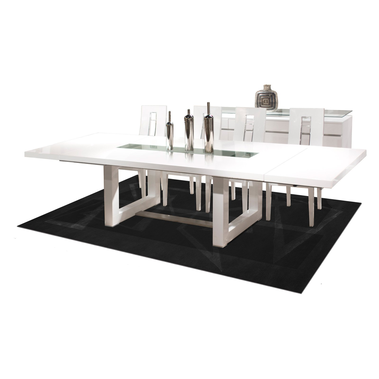 Novo Rectangular Extendable Dining Table   White Lacquer   Walmart.com