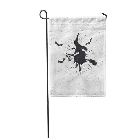 KDAGR Autumn Witch Vintage Halloween Badge Bat Black Broom Drawing Garden Flag Decorative Flag House Banner 12x18 inch