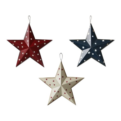 Attraction Design Home Americana Patriotic Barn 3D Stars Wall D cor (Set of 3)