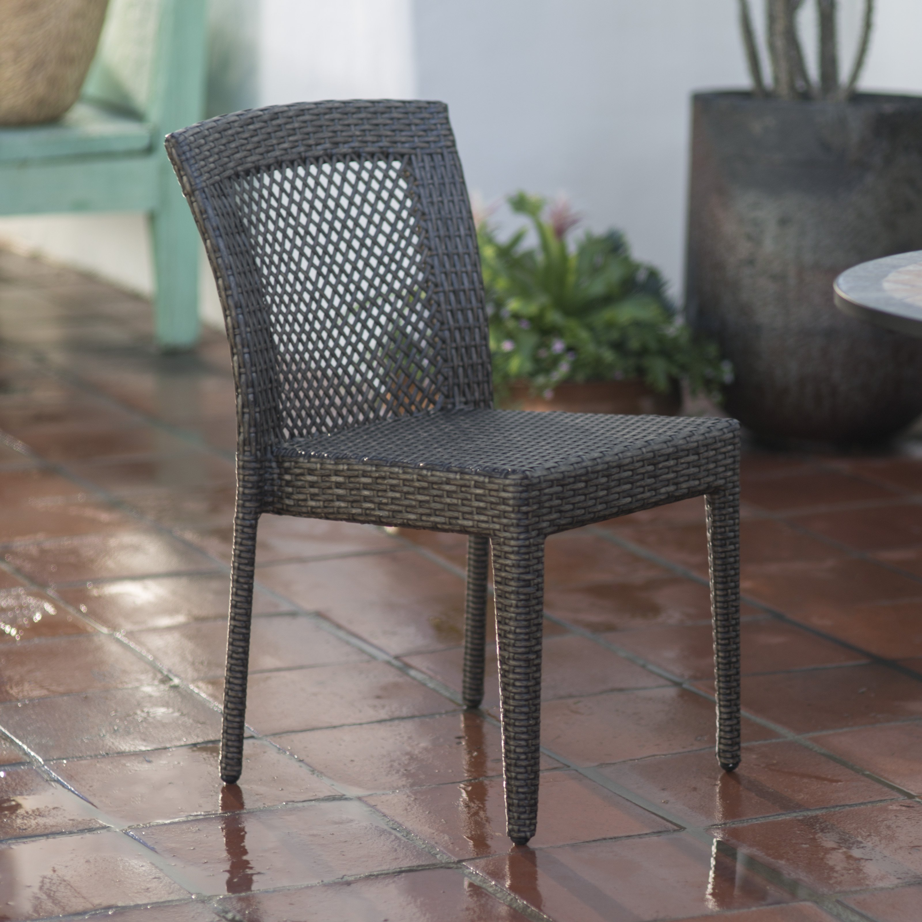 Coral Coast Brisbane All-Weather Wicker Open Patio Dining Chair Set of 2 by