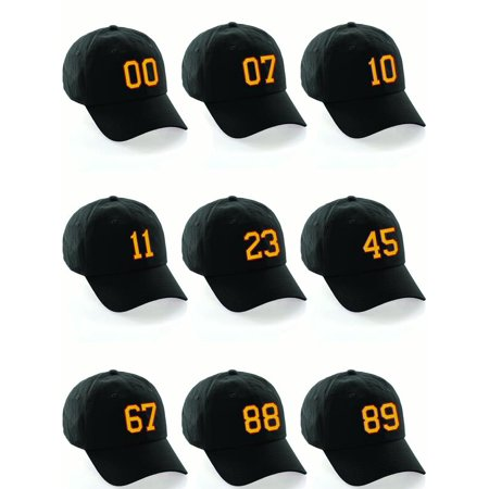 7c8a45e07b1 Custom Dad Hat 00-99 Raised Team Numbers Classic Baseball Cap - Black Hat  with Red Gold Numbers - Walmart.com