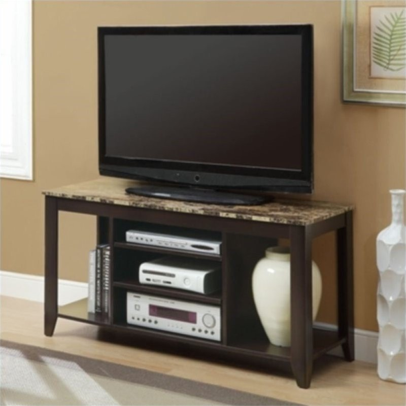 "Pemberly Row 48"" Marble TV Stand in Cappuccino - image 2 of 3"