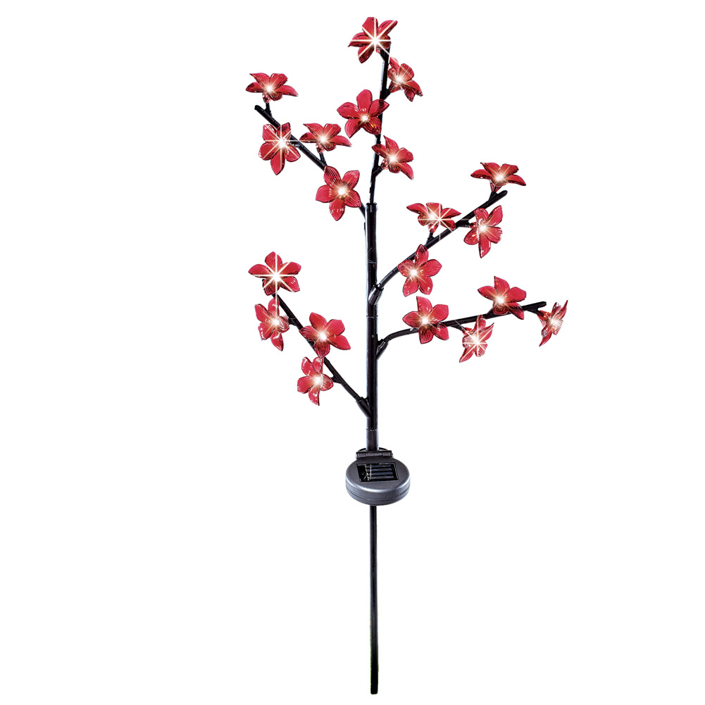 Light Up Flowering Tree Garden Stake Decoration, Solar Powered, Red