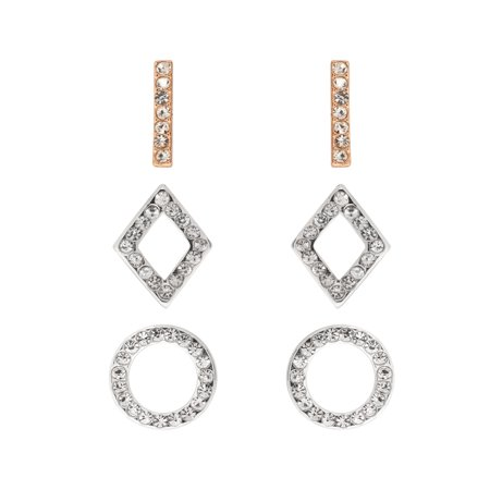 Two Tone Plated 3 pcs Linear Bar Diamond and Circle Shape Earring Set 200+ Pcs Diamond