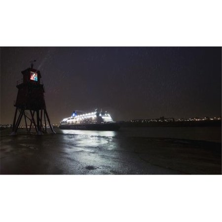 Light Streaming from A Lighthouse On The Coast As An Illuminated Cruise Ship Passes by - South Shields Tyne & Wear En 3 Poster Print by John Short, 38 x 22 - Large - Halloween 3 Le Film En Streaming