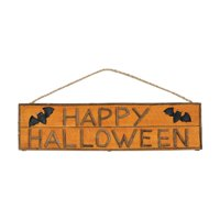 "20"" Wooden Orange Happy Halloween Sign with Bats and Wire Hanger"