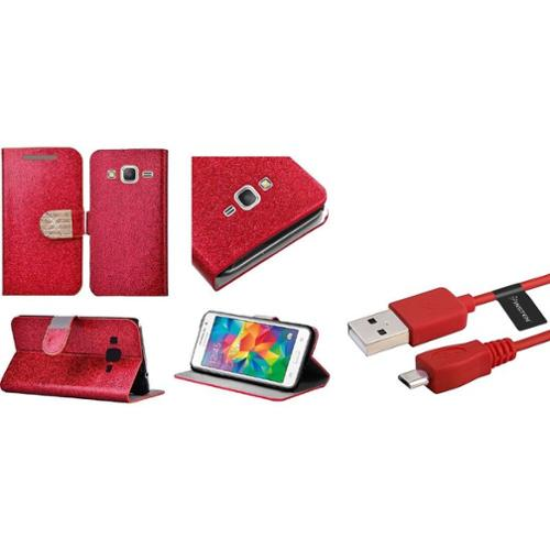 Insten Book-Style Leather Wallet Glitter Case with Diamond For Samsung Galaxy Grand Prime - Red/Gold (+USB Cable)