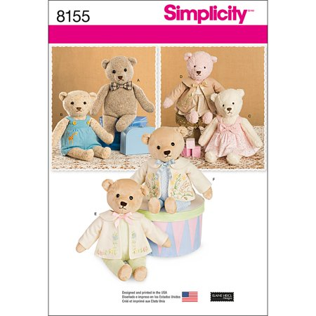 Simplicity One Size Stuffed Bears with Clothes Pattern, 1 Each