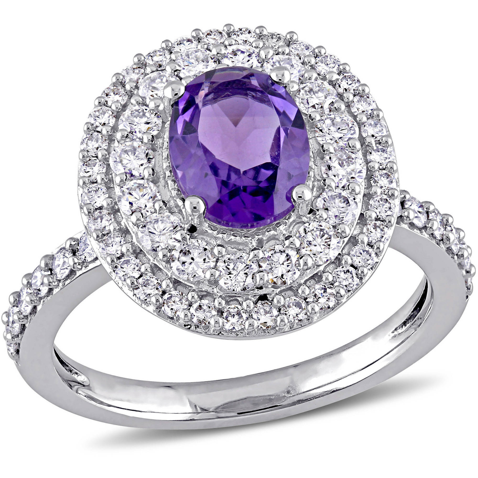 Tangelo 1-1 5 Carat T.G.W. Oval-Cut Amethyst and 7 8 Carat Diamond 14kt White Gold Double Halo Ring by Tangelo