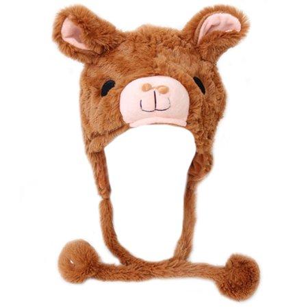 TopTie Girls Animal Design Winter Thermal Hat With Ears - Panda, Alpaca, Dolphin-Alpaca (Animal Hats For Women)