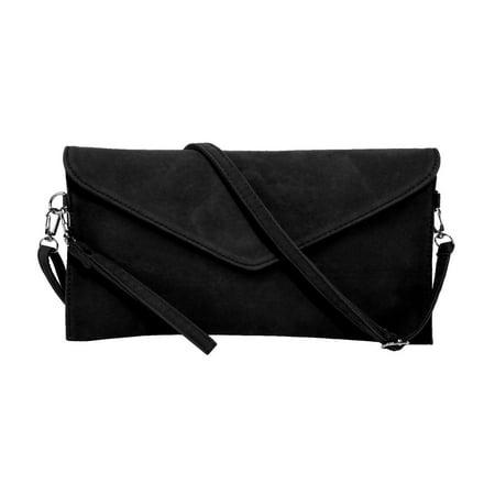 Women's Faux Suede evening Clutch bag shoulder Handbag messenger envelope bags Black Evening Clutch Handbag Shoulder Bag