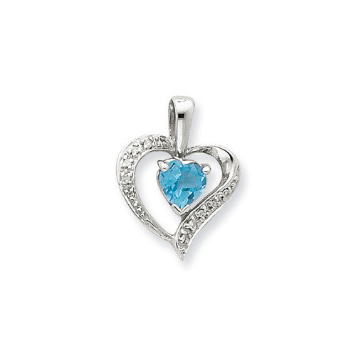Jewelryweb Sterling Silver Heart Swiss Blue Topaz and Diamond Heart Pendant