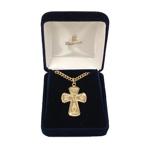 Gold Religious Four-Way Cross Pendant Necklace 24""