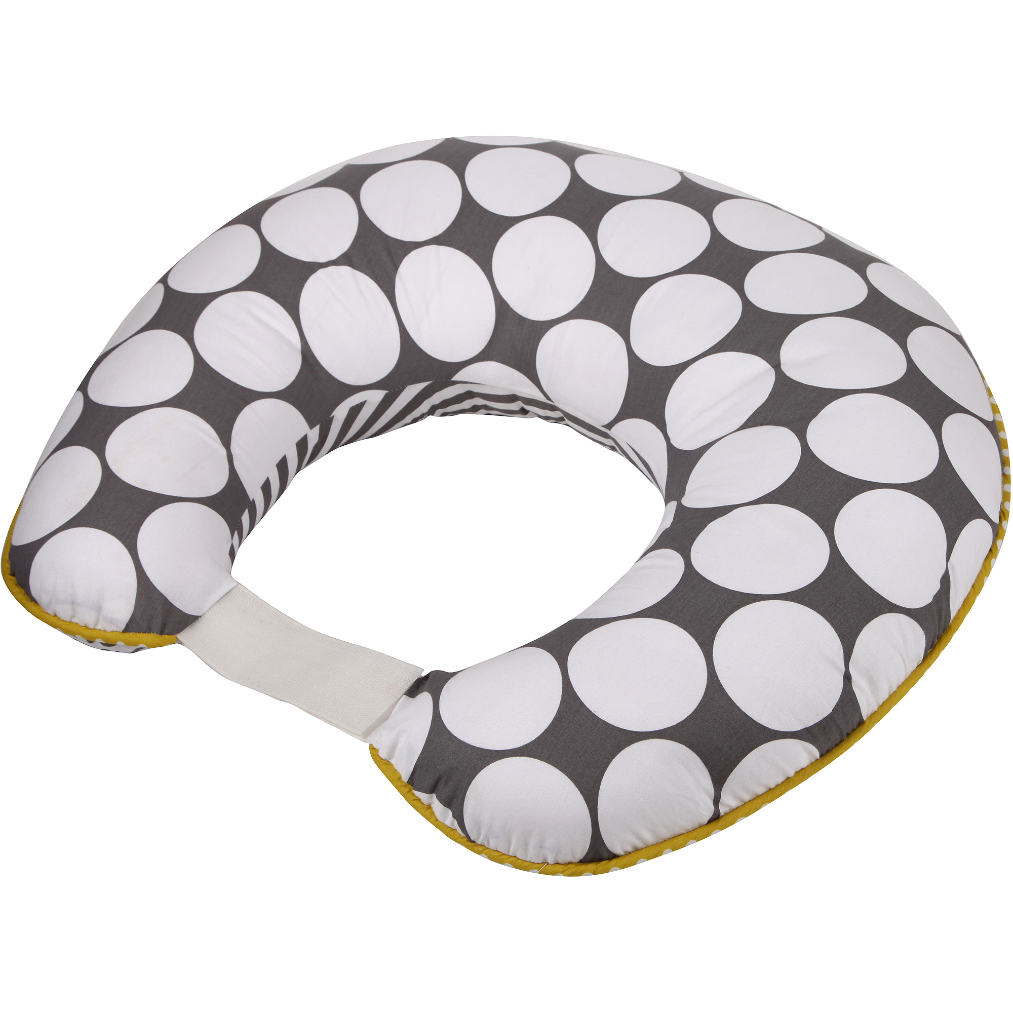 Bacati Dots/Pin Stripes Nursing Pillow, Gray/Yellow